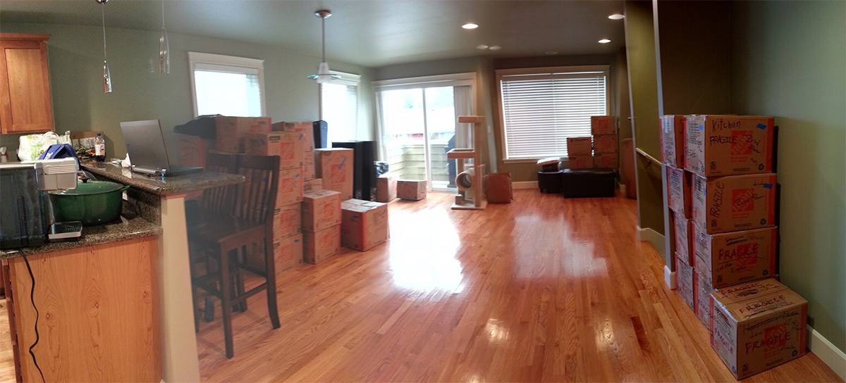 Dining room with boxes,